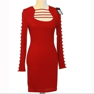 Valentines Red Dress Cut Out Sleeve & Front XS NWT